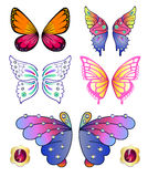 Les papillons ont coloré des ailes de gemme réglées Image libre de droits