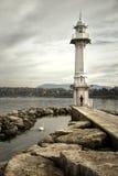 Les Paquis latarnia morska w Genï ¿ ½ ve, Szwajcaria Fotografia Royalty Free