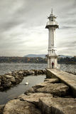 Les Paquis Lighthouse in Gen�ve, Switzerland Royalty Free Stock Photography