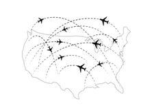 Les parcours aériens avec les icônes plates noires sur les Etats-Unis tracent illustration stock