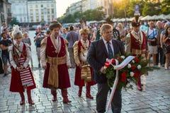 Les participants de la cérémonie est le voeu des premières classes du lycée de janv. III Sobieski Images libres de droits