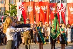 Les participants de la cérémonie est le voeu des premières classes du lycée de janv. III Sobieski Images stock