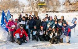 Les participants de la natation d'hiver, le 4 janvier 2016 Image libre de droits