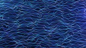 Les particules bleues horizontales futuristes fument des lignes résumé de vagues illustration libre de droits