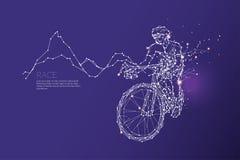 Les particules, l'art géométrique, la ligne et le point de la course de bicyclette Images stock