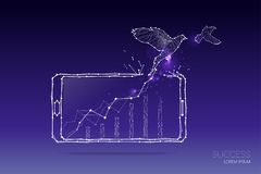 Les particules, l'art géométrique, la ligne et le point du concept d'affaires Image stock