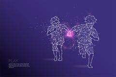 Les particules, l'art géométrique, la ligne et le point du fonctionnement d'enfants Image libre de droits