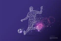 Les particules, l'art géométrique, la ligne et le point du joueur de football SH Photos libres de droits