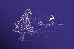 Les particules, l'art géométrique, la ligne et le point du Joyeux Noël Images stock