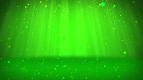 Les particules ou les scintillements verts brillants tombent et arrangent sur la surface Fond ou endroit pour vos objets, publici illustration libre de droits
