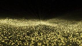 Les particules que le bokeh d'or scintillent des récompenses époussettent le fond abstrait illustration stock