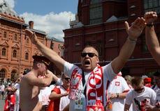Les passionés du football polonais chez le Manezhnaya ajustent pendant la coupe du monde Coupe du monde de la FIFA, Mundial 2018 Photographie stock
