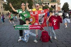 Les passionés du football sont arrivés à Moscou pour la coupe du monde Images libres de droits