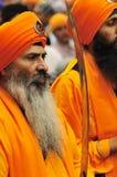 Les passionnés sikhs participent au cortège de Baisakhi Photo libre de droits