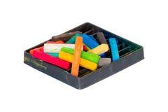 Les pastels de craie ont placé pour Art Drawing Scrapbooking ont isolé sur le blanc Photo libre de droits
