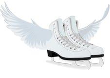 Les patins des femmes pour la figure patinage avec des ailes Photographie stock
