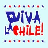 Les patrias plats de fiestas conçoivent la carte avec le texte Viva la Chile dans le style de papier déchiré par grunge national  illustration stock