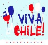 Les patrias plats de fiestas conçoivent la carte avec le texte Viva la Chile dans le style de papier déchiré par grunge national  illustration de vecteur