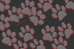 Les pattes de chat impriment sur un fond noirâtre ou un gradient illustration stock