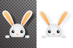Les pattes mignonnes d'isolement de trou de lapin de Pâques conçoivent l'illustration transparente de vecteur de calibre de fond illustration stock