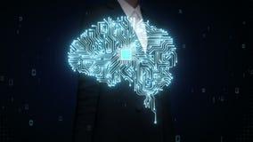 Les paumes ouvertes de femme d'affaires, puce d'unité centrale de traitement de cerveau, élèvent l'intelligence artificielle 2 banque de vidéos