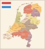 Les Pays-Bas - carte et drapeau de vintage - illustration Photo stock