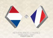 Les Pays-Bas contre des Frances, ligue A, groupe 1 Compet du football de l'Europe illustration libre de droits