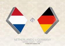 Les Pays-Bas contre l'Allemagne, ligue A, groupe 1 Compe du football de l'Europe illustration de vecteur