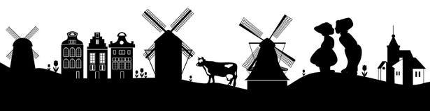 Les Pays-Bas, Hollande Symboles nationaux néerlandais en tant que silhouettes simples sur les collines Images stock
