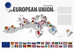 Les pays de l'Union européenne 28 et goupille d'emplacement du navigateur de GPS avec le drapeau national sur le continent de l'E Images libres de droits
