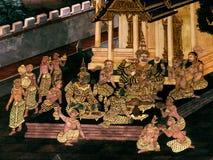 Les peintures murales de Ramayana de, étranger lutte les dieux et la chimère sur des murs de palais Bangkok, Thaïlande de rois images libres de droits