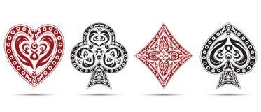 Les pelles, coeurs, diamants, matraque des symboles de cartes de tisonnier d'isolement sur le fond blanc Images libres de droits