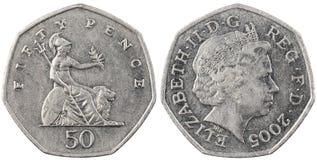 Les penny britanniques de la pièce de monnaie cinquante Photographie stock