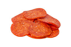 Les pepperoni de coupe photo stock