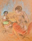 La fille avec la maman Illustration de Vecteur