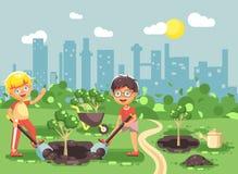 Les personnages de dessin animé d'illustration de vecteur des enfants deux petits garçons creusent le trou en terre pour planter  Photo stock