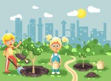 Les personnages de dessin animé d'illustration de vecteur des enfants garçon et fille creusent le trou en terre pour planter dans Photographie stock