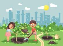 Les personnages de dessin animé d'illustration de vecteur des enfants garçon et fille creusent le trou en terre pour planter dans Photo stock