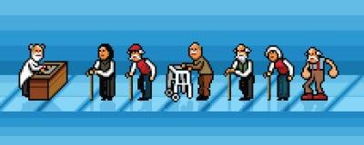 Les personnes âgées attendant dans la ligne dans le vecteur d'art de pixel d'hôpital posent l'illustration Photographie stock
