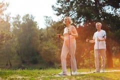 Les personnes âgées joyeuses marchant dans la forêt Photo libre de droits