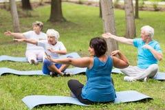 Les personnes âgées s'exerçant en parc Photographie stock libre de droits