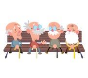 Les personnes âgées sur un banc illustration stock