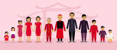 Les personnes chinoises de famille conçoivent à plat illustration de vecteur