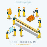 Les personnes de constructeurs de construction ont placé le concept isométrique du Web 3d plat Photos stock