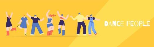 Les personnes de danse matraquent le style plat de bannière de festival de partie illustration stock