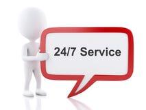 les personnes de race blanche 3d avec la parole bouillonnent qui indique 24/7 service Photo stock