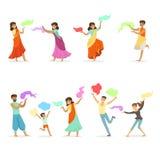 Les personnes de sourire dansant dans des costumes indiens nationaux réglés pour le label conçoivent Danse indienne, culture asia illustration de vecteur