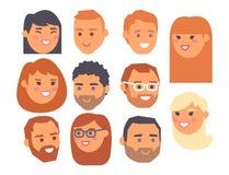 Les personnes de vecteur d'Eemotion font face à l'illustration d'avatar d'émotions de bande dessinée L'emoji de femme et d'homme  Photo libre de droits