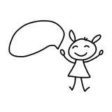 Les personnes heureuses de concept de bande dessinée de dessin de main discutent le plan d'action Image stock