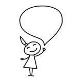 Les personnes heureuses de concept de bande dessinée de dessin de main discutent le plan d'action illustration stock